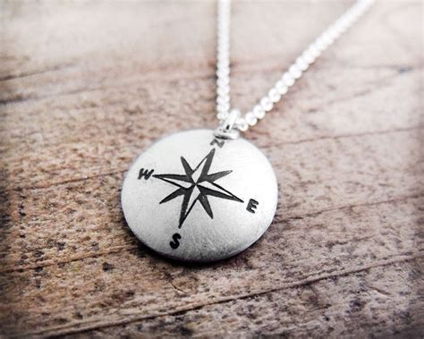 Handmade Compass - compass necklace silver handmade compass necklace