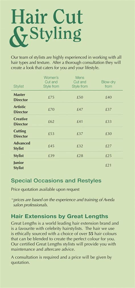 list of hairstyle prices gents hair cuts aveda hair salon spa surrey