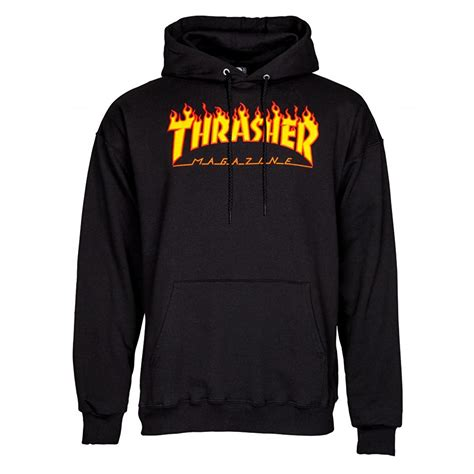 Sweater Hoodie What Is The Plan Front Logo Thrasher Logo Hoodie Black Ebay