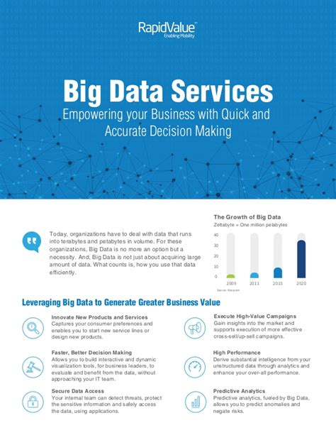 services brochure big data services brochure by rapidvalue solutions