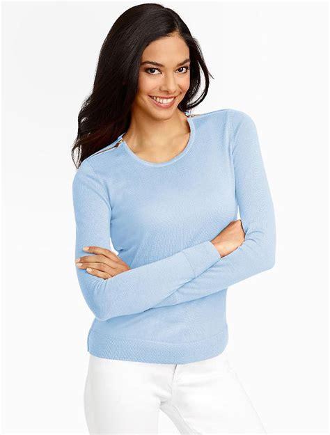 Sc3232 Denim Ziper Niki Hoodie merino zip shoulders sweater blue talbots inspired