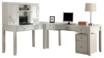 White L Shaped Computer Desk Boca Modular L Shaped Desk With Hutch And Rolling File In Cottage White Transitional Desks