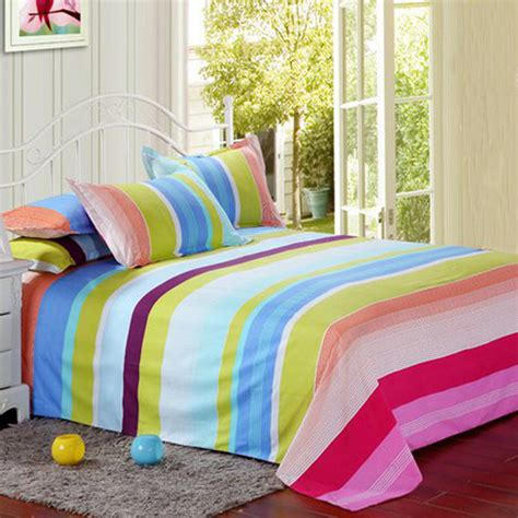 colorful bedding polyester colorful stripes single king reactive