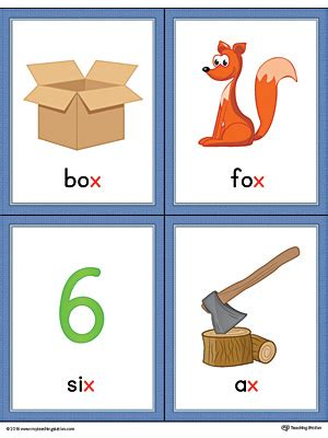 Business Terms Letter X Letter X Words And Pictures Printable Cards Box Fox Six Ax Color Myteachingstation