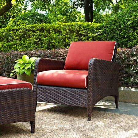 crosley furniture kiawah outdoor wicker arm chair sangria cushions walmartcom