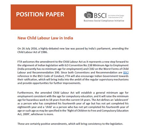 How To Make Position Paper - position paper new child labour in india bsci