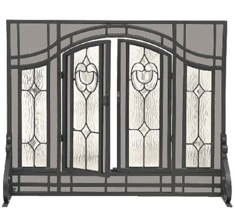 small fireplace glass doors plow hearth small floral fireplace screen w glass panel