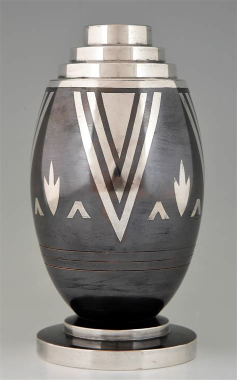 art design vase art deco dinanderie vase with stylized geometric design