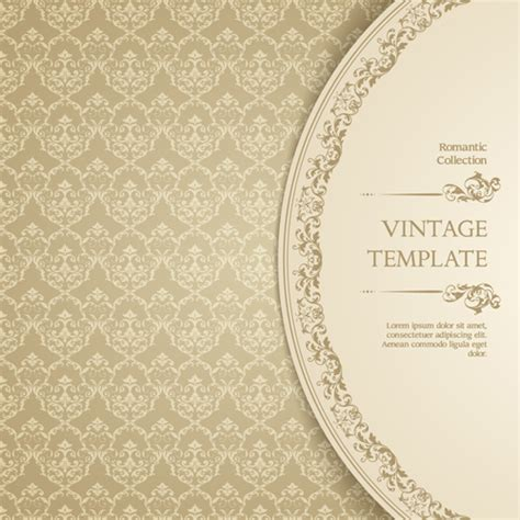 ornate vintage template background vector 04 over