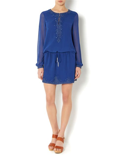Odiva Top With Sequin Detail 668352 Navy linea weekend sequin detail tunic top in blue lyst