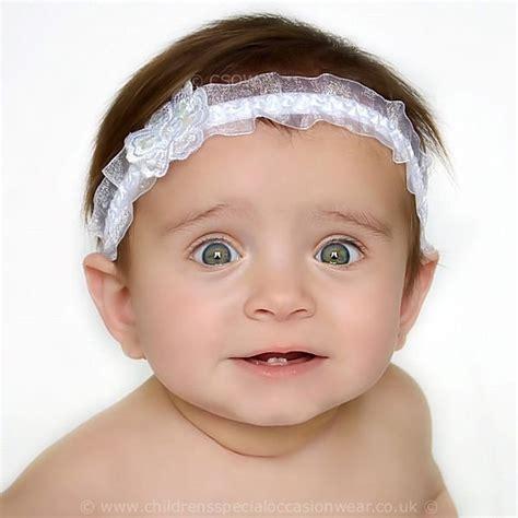 baby white organza headband with satin sequin christening wedding