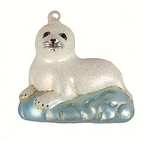 cobane studio baby harp seal blown glass ornament