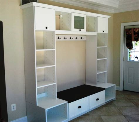 bench hook design entryway unit featuring crown molding hooks cubbies