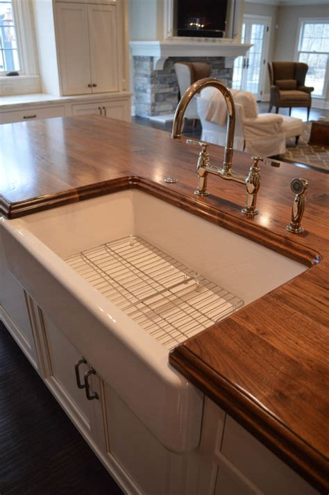 kitchen island countertop distressed walnut countertop with a sink designed by