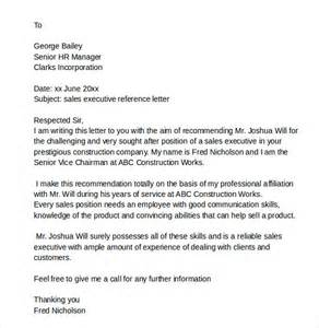 free sle letter of recommendation template sle reference letters 6 free documents in