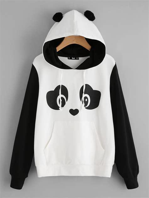 Jaket Hodie Footpint Panda panda print pom pom detail hoodie shein sheinside