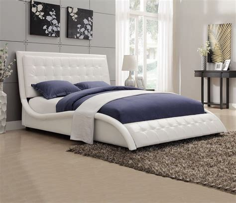 Black Upholstered Bed Frame Modern Size White Black Upholstered Leather Platform Bed Frame Bedroom Ebay