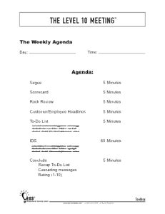 Foster Accountability And Stop Wasting Time In Meetings Bluecore Leadership Llc Business Level 10 Meeting Agenda Template