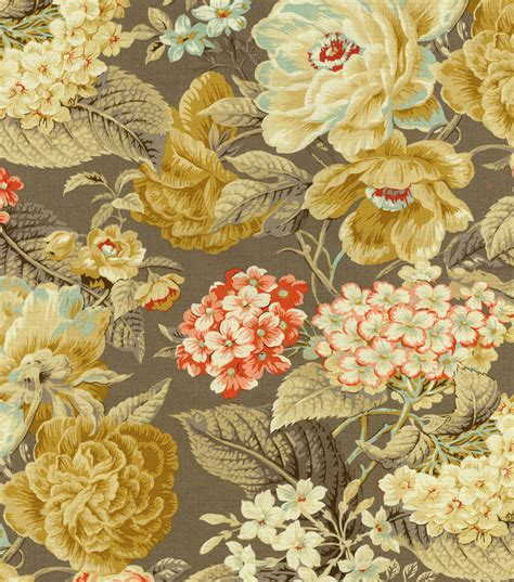 home decor print fabric waverly floral flourish clay jo