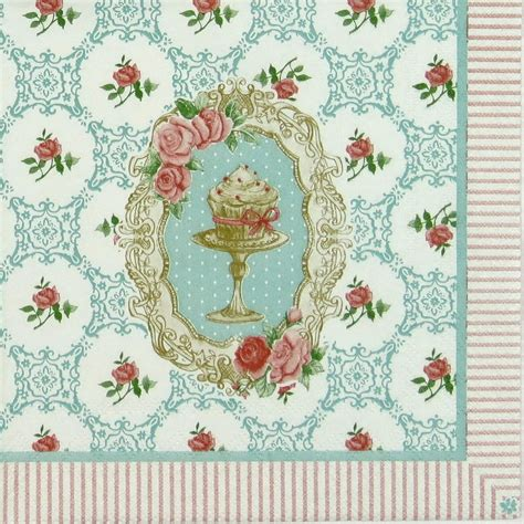 Paper Napkins Decoupage - 4x single table paper napkins for decoupage vintage