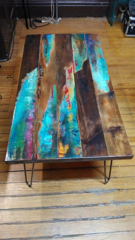 painted coffee table abstract art  distressed wood
