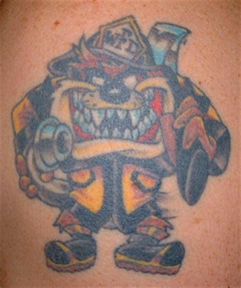 tazmanian devil tattoo firefighter