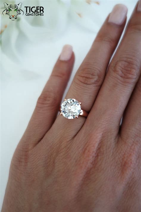 4 Engagement Ring by 4 Carat Cut Low Profile Solitaire By Tigergemstones