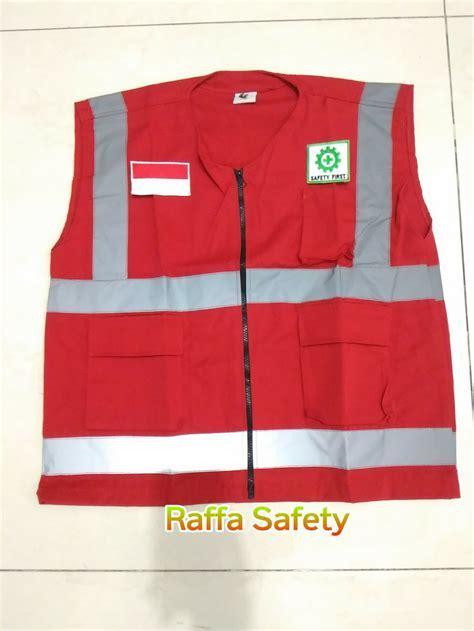 Jual Rompi kerja safety bahan drill & logo merah putih