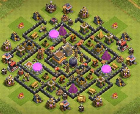 th8 layout after update 9 best coc th8 hybrid bases with bomb tower 2016 2017