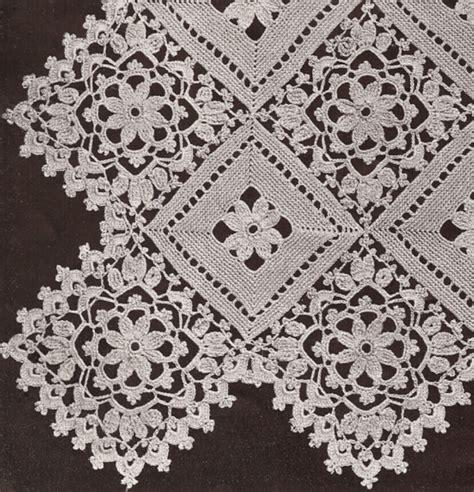 vintage crochet pattern   block lace flower