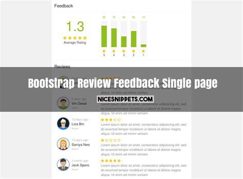 Responsive Layout Using Bootstrap | review and feedback single page responsive design using