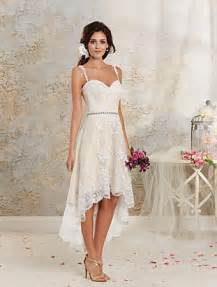 Modern hi low a line silhouette vintage inspired wedding dress