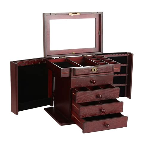 armoire jewelry boxes wood jewelry box organizer armoire ring necklace display
