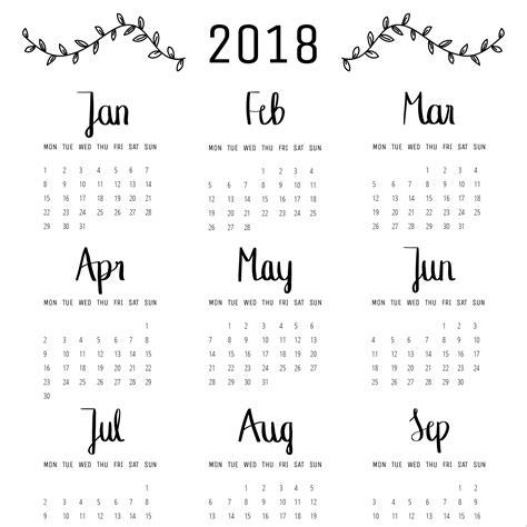 Kalender 2018 A4 Calendar 2018 Overview A4 Waldpapier