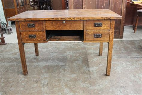 oak mission desk attrib to stickley great hammered