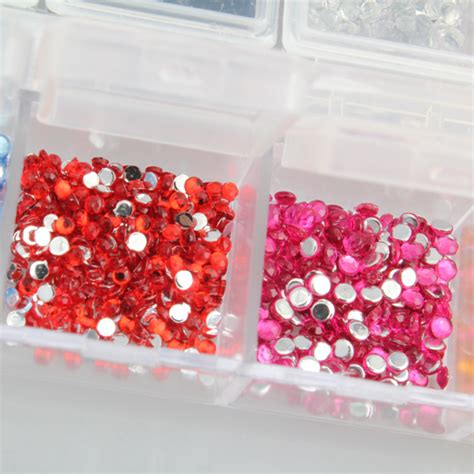 Circle Rhinestone 2mm by New Mix 12 Color 2mm Circle Nail Tips