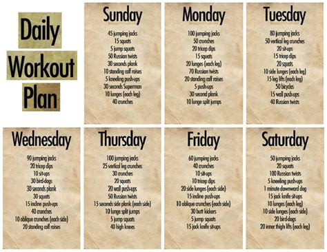 daily workout plan workouts daily workouts