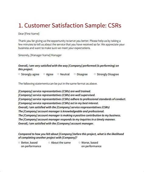9 Customer Satisfaction Survey Template Sle Templates Company Satisfaction Survey Template