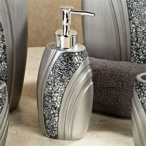 Grey Bathroom Accessories Brilliance Mosaic Silver Gray Bath Accessories