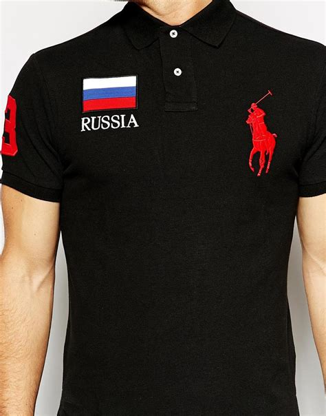 Polos Shirt Baikal Rusia polo ralph polo with russia flag in black for lyst
