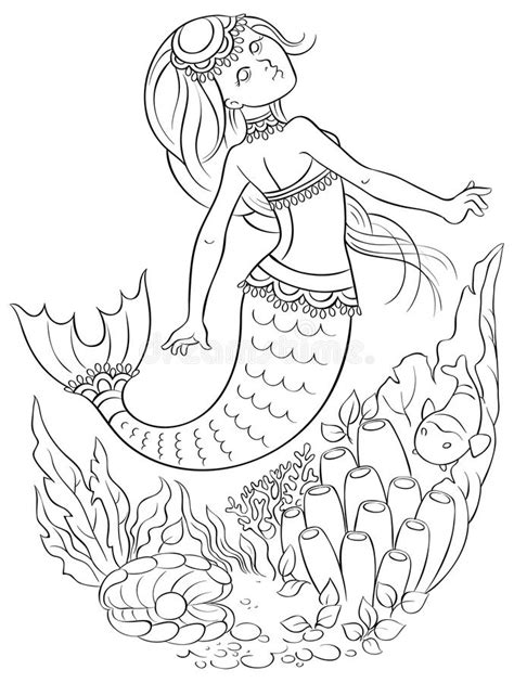 underwater mermaid coloring pages mermaid swimming underwater in the ocean coloring page