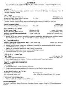 Sample Resume Objectives For Athletic Director by Objective For Resume Athletic Trainer Resumes Design
