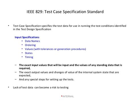 ieee 829 test plan template test data documentation ss