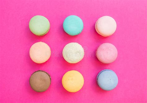 Sweet Macaroon Pink sweet colorful macaroon biscuits on bright fuchsia