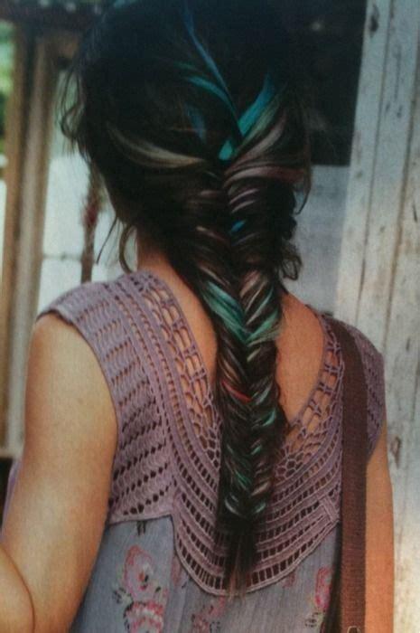 pictures of blue hair braided into brown hair fishtail braid i love how pretty her dark brown hair