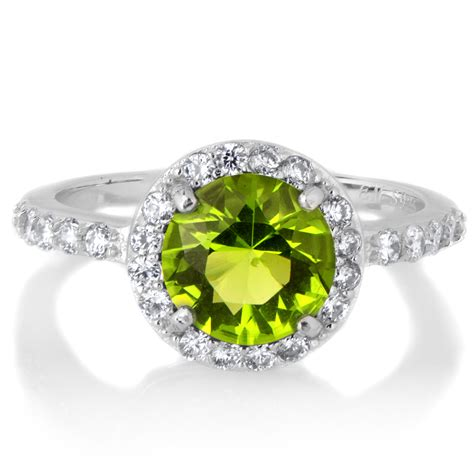 ring with birthstones silvertone august green cz imitation birthstone ring