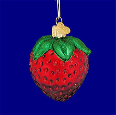 summer strawberry fruit glass ornament by old world christmas
