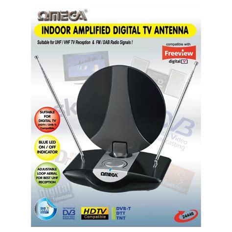 omega  indoor uhf tv antenna amplified aerial digital freeview dab fm radio etwist