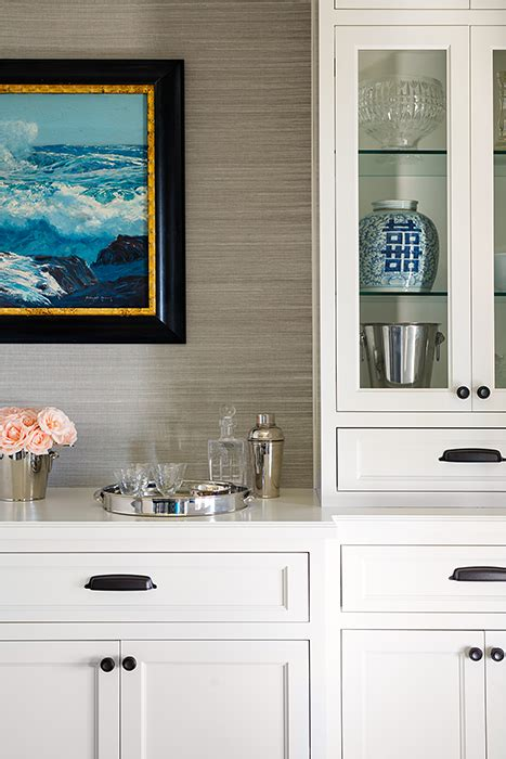 Built in Buffet Cabinet with Grass Grasscloth Wallpaper   Contemporary   Dining Room
