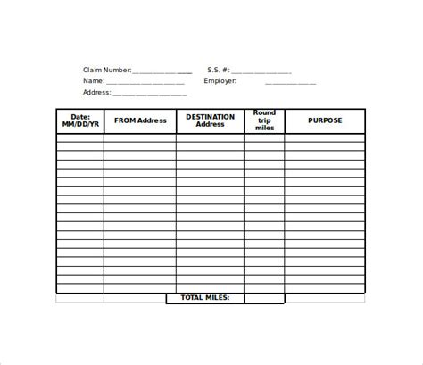 mileage forms template mileage reimbursement form 8 free documents in
